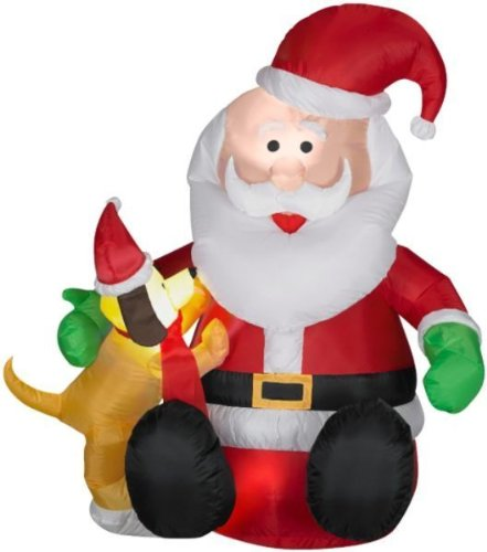 Santa Claus and Puppy Dog Christmas Airblown Inflatable by Gemmy