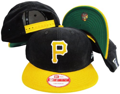 Pittsburgh Pirates Corduroy Black / Yellow Two Tone Plastic Snapback Adjustable Plastic Snap Back Hat / Cap