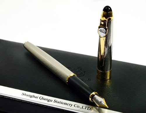 Jinhao 165 Silvery Mirror Carved Gold Nib Fountain Pen 3