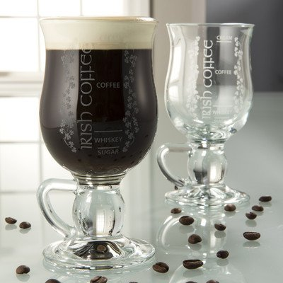 Belleek Pottery Galway Crystal Irish Coffee Glasses, 5.7-Inch, Clear, Set of 2 (Irish Coffee Mugs With Recipe compare prices)