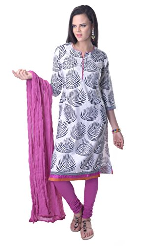 Vastra Vinod Leaf Print Cotton Suitset