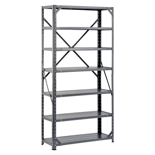Edsal HC30127 Steel 7-Shelf Shelving Unit, 750 lb Capacity, 30″ Width x 60″ Height x 12″ Depth
