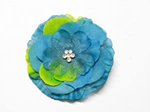 "Blue Two Tones 3.3"" Jeweled Center Flower Hair Clip Hair Accessories For All ..."