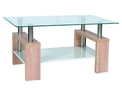 """Glastisch """"Lisa B"""" Couchtisch Sonoma Eiche"""