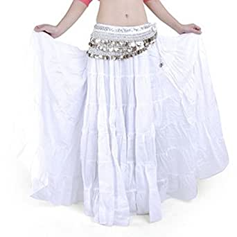 Women's Belly Dance Long A-lined Cotton Peasant Full Length Tiered Skirt Solid Embroidered Dress