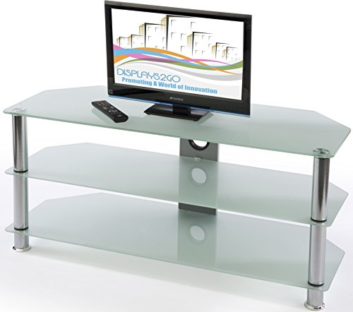 Displays2Go Pttv60Clr Glass Entertainment Center, Hdtvs Up To 60-Inches, Tempered Glass Shelves (Silver/Clear)