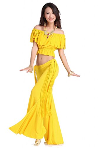 Feimei Belly Dance Costume Short Hubble-bubble Sleeve Top & Long Tassel Pants