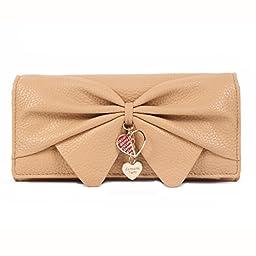 Damara Women Long Faux Leather Bifold Large Bow Design Wallet Handbag,Apricot