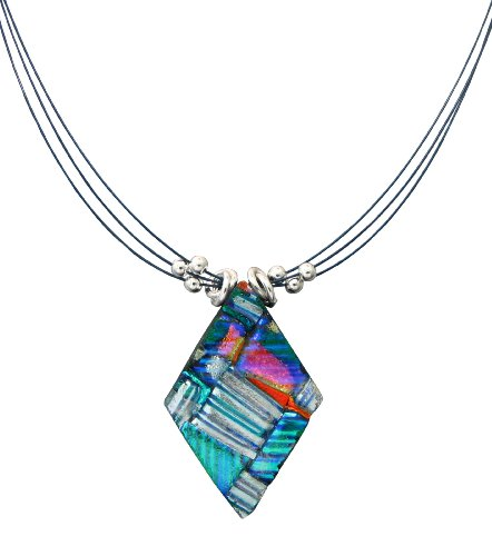 Sterling Silver Dichroic Glass Double Layer Stripe Pattern Diamond-Shaped Necklace, 18