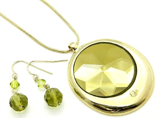NECKLACE AND EARRING SET , METAL , CRYSTAL , GREEN, Fashion Jewelry
