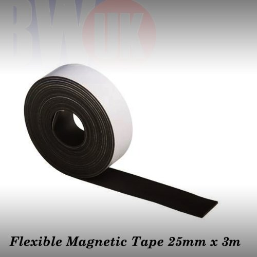 3m Self-adhesive magnetic tape strip strong 25mm Wide flat curved surfaces S53