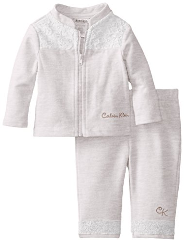 Calvin Klein Baby-Girls Newborn Jacket Set, White, 3-6 Months