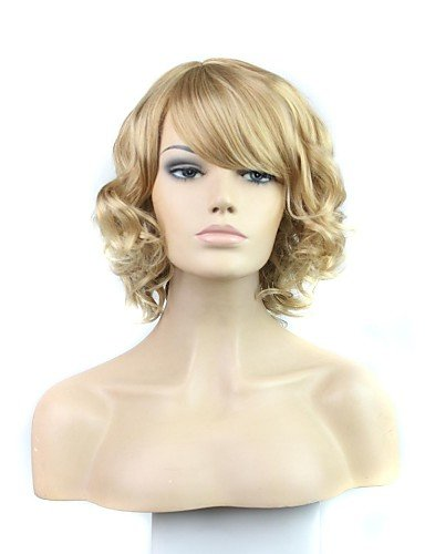[Wigs have an attractive convenience fashion Capless Short Curly Synthetic Side Bang Wig] (Danny Sandy Grease Costumes)
