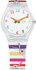 Swatch GE221 Ladies Rabelitto White Dial Plastic Strap Watch