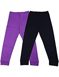 Fashion Biz Women't Cotton Lycra Stretchable Free Size Capri Tights (Pack Of 2) (Purple Black)