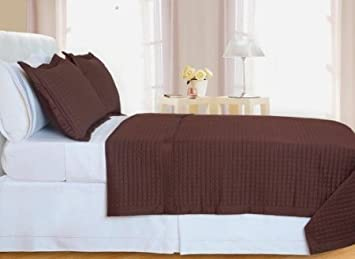 sheetsnthings Twin Size 400 Thread count Chocolate Coverlet Set Including Matching Sham 100% Egyptian Cotton at Sears.com