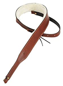 Levy's Leathers PMB42-WAL 2-inch Carving Leather Banjo Strap with Sheepskin Lining,Walnut