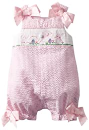 Mud Pie Baby-Girls Newborn Bunny Smocked Bubble, Pink, 6-9 Months