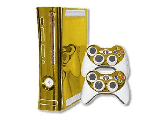 Microsoft Xbox 360 Skin (1st Gen) - NEW - GOLD CHROME MIRROR system skins faceplate decal mod (Xbox 360 Warranty Sticker compare prices)