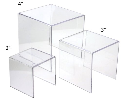Set of 3 Square Clear Acrylic Small Risers - 2, 3, 4 Inches (Plastic Display Box Square compare prices)