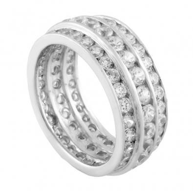 .925 Sterling Silver Eternity Ring, Designed with Triple Rows of Expertly Crafted High Quality Round-Cut Colorless Cubic Zirconia, Special Limited Time Offer Super Sale Price, Comes with a Free Gift Pouch and Gift Box
