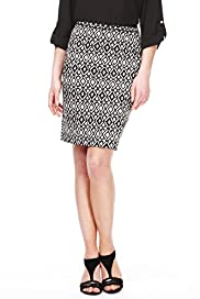 Petite Cotton Rich Italian Geometric Print Pencil Skirt