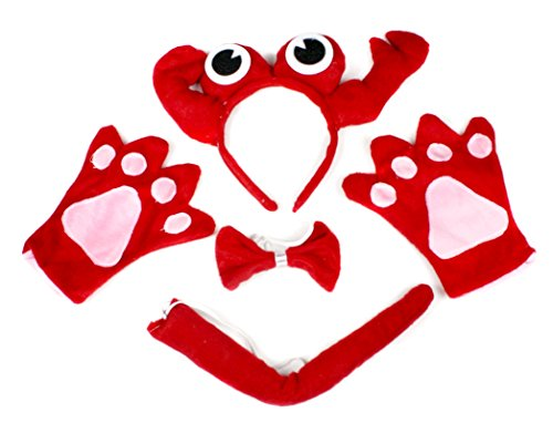 [Petitebella Red Crab Headband Bowtie Tail Gloves 4pc Costume for Child Birthday] (Crab Costumes)
