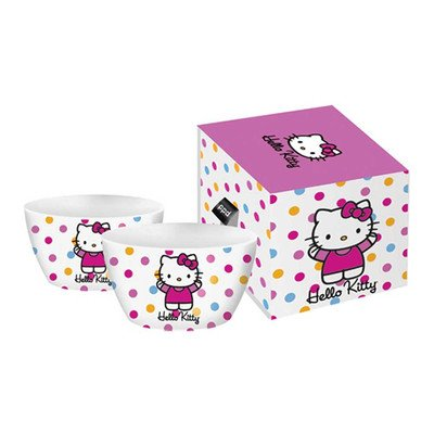 Paperproducts Design Porcelain Deep Bowl, 5.5-Inch, Polka Dot Hello Kitty, Set of 2