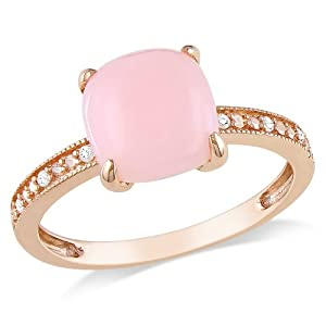 10k Rose Gold Pink Opal and Diamond Ring, (0.03 cttw, G-H Color, I1-I2 Clarity) from Amazon Curated Collection