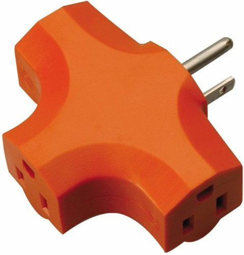 Coleman Cable 9906 3-Outlet Wall Plug Adapter, Orange
