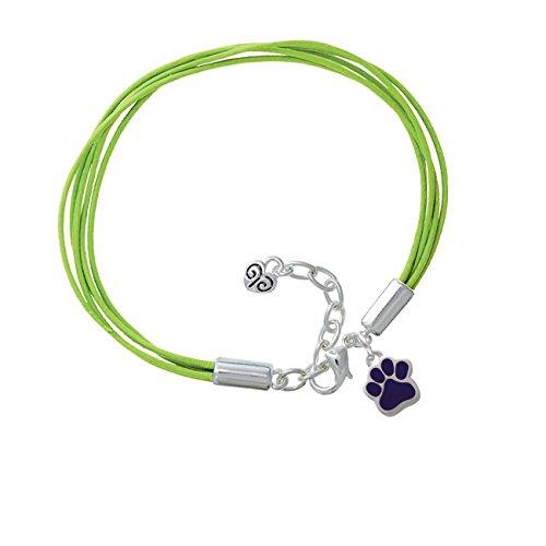 Small Purple Paw Lime Green Leather Aruba Bracelet