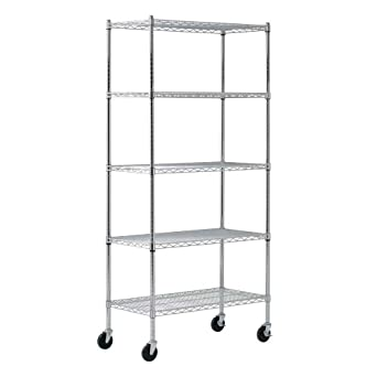 sandusky mws361872 5 tier mobile wire shelving unit with 3. Black Bedroom Furniture Sets. Home Design Ideas