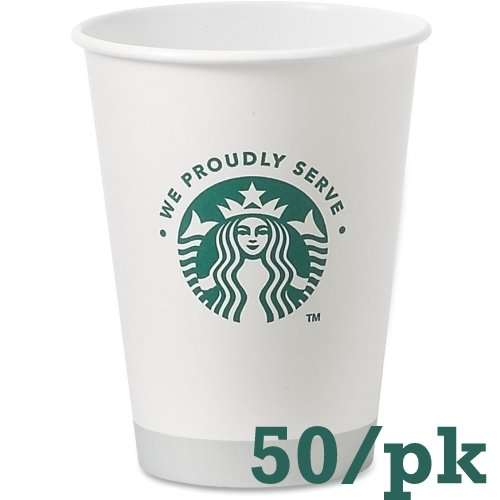 Starbucks White Disposable Hot Paper Cup, 12 Ounce, 50 Pack (Small Cups With Lids Disposable compare prices)