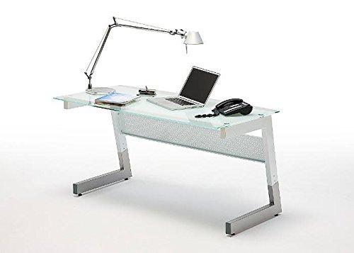 Schreibtisch BIG M MCA weiß silber Grau Weiß Glas Metall
