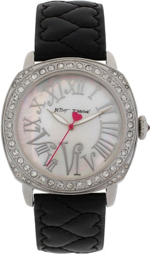 Betsey Johnson Women's BJ00175 Black Leather Band Watch