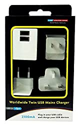 2100mA World Wide Twin USB Mains Travel Charger For Mobile Phones Mp3 Players Tablets Only From M.P.Enterprises