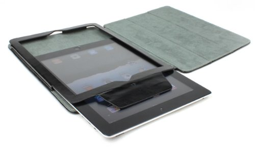 AYL Leather Case with built-in Roll Up Stand and Elastic Strap for Ipad 2 - Black