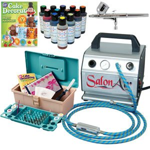 "Complete Premium ""Salon Air"" Professional Cake Decorating System Airbrush Kit with Salon Air Compressor, Airbrush with Hose, 50 Piece Wilton Cake Decorating Set and a set of 12 - 4.5 oz. Americolor AmeriMist Food Colors"
