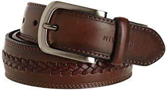 Tommy Hilfiger Men's Double-Stitched Leather Belt,Brown,32
