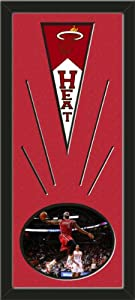 Miami Heat Wool Felt Mini Pennant & LeBron James Photo - Framed With Team Color... by Art and More, Davenport, IA