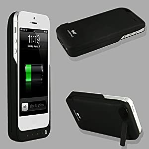 Liying New Portable dual-use power bank for iPhone 5 external rechargeable spare backup extended battery charger pack case cover for Apple iPhone 5 (With Media Kick Stand & one USB port) (4500mAh)