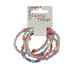 Girls Frosted Flowers Bracelets - Pack of 5