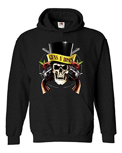 "Felpa Unisex ""Guns N Roses - Skull"" - Felpa con cappuccio rock band LaMAGLIERIA, S, Nero"