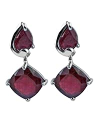 Carillon India Ruby 925 Sterling Silver Party Wear Fashion Drop Earring For Women