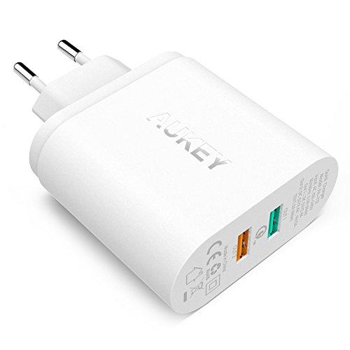 AUKEY-Quick-Charge-20-Cargador-de-Pared-Dual-Puerto-USB-Enchufe-Europeo-con-Tecnologa-AiPower-para-iPhone-iPad-Samsung-Galaxy-S7-HTC-LG-Motorola-etc-Cable-Micro-USB1m-Negro