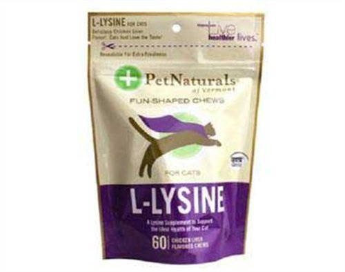 Pet Naturals Of Vermont L-Lysine 60 Fun-Shaped Chews For Cats - 4 Pack