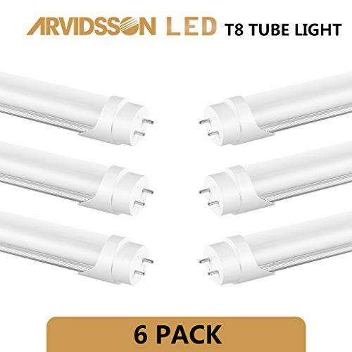 Arvidsson T8 LED Tube Light 4FT 22W[50W Fluorescent Equivalent] 5000K Full Spectrum Daylight- 100-277V Hi Power Super Brightness- T8 Ellipse Linear Tube- Opal Cover Reduce Eye Strain - UL DLC [6-Pack] (48 Inch Full Spectrum Led compare prices)