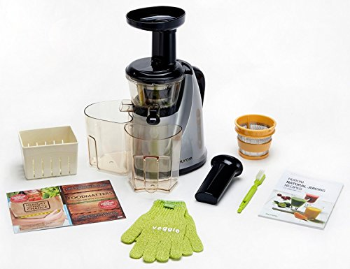 HUROM HU-100SB Masticating Slow Juicer Machine (Silver) with Juice Cap & BONUS GIFTS: Coarse ...