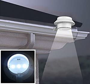 VicTsing 3 LED Solar Powered Fence Gutter Light Outdoor Garden Wall Lobby Pathway Lamp (Energy Saver With High Technology) from VicTsing
