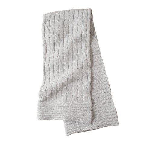 "Elegant Baby 100% Cotton Wide Cable Knit Blanket with Ribbed Border, Gray, 36"" x 45"""